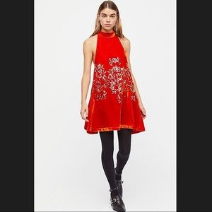 Free People Orange/Rust Velvet Sleeveless Dress
